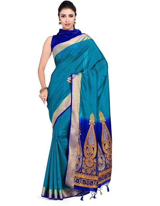 Molakalmuru Art Silk Saree Blue
