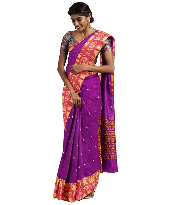 Molakalmuru Purple Poly Silk Saree