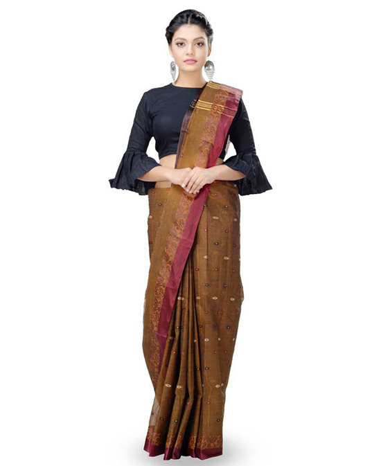 (MulticolorTangail Pure Cotton Saree