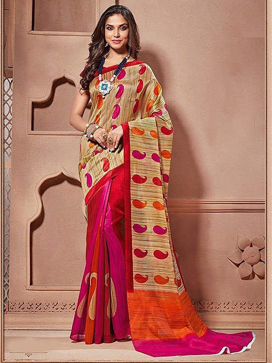 Multicoloured Printed Kora Silk Saree