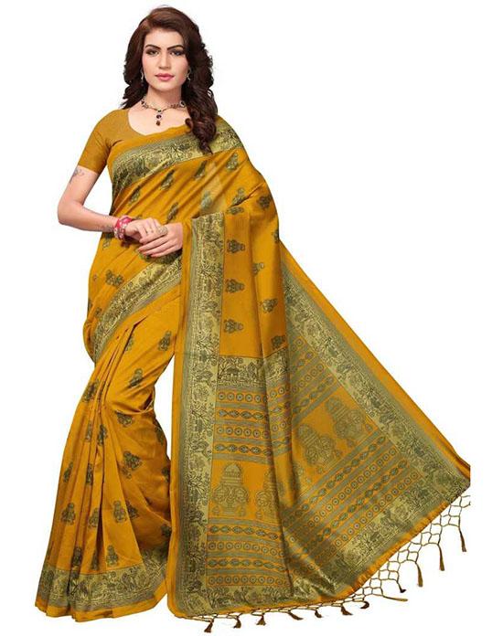Mysore Art Silk Mustard Saree