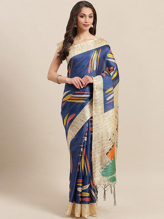 Navy Blue & Beige Digital Printed Mysore Silk Saree