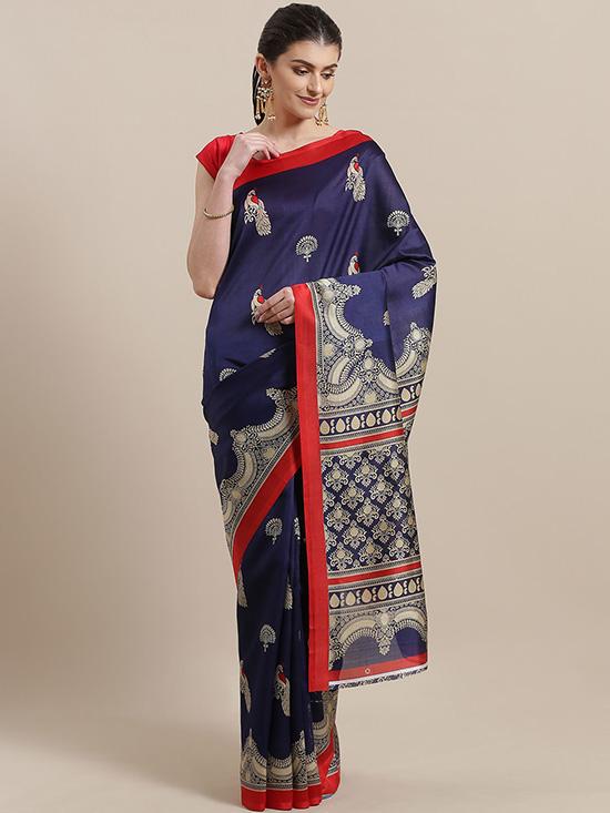 Navy Blue & Beige Printed Mysore Silk Saree