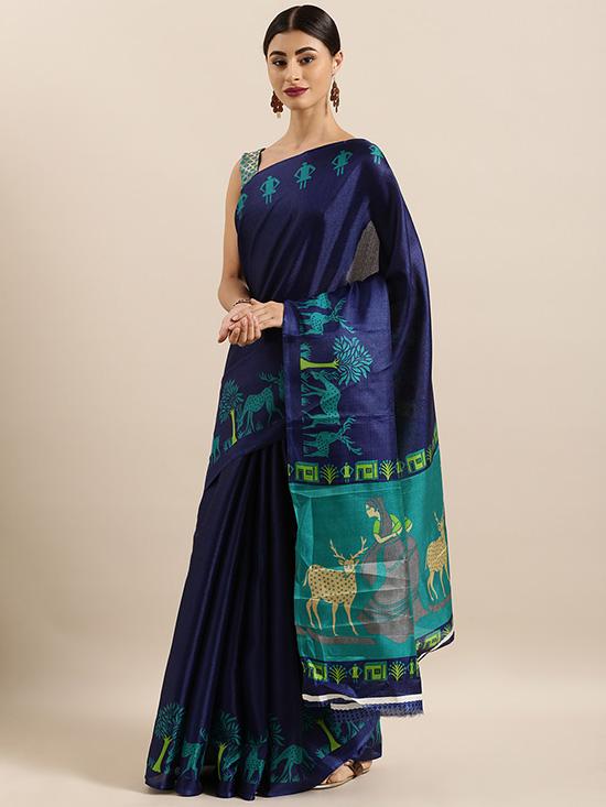 Navy Blue Cotton Blend Printed Khadi Saree