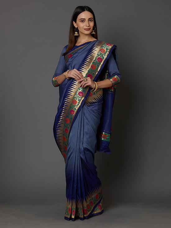 Navy Blue & Gold-Coloured Silk Blend Woven Design Banarasi Saree