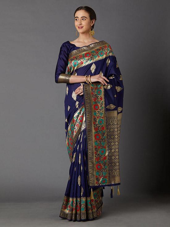 Navy Blue & Gold-Coloured Silk Blend Woven Design Kanjeevaram Saree