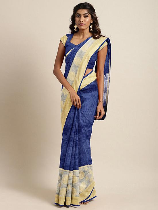 Navy Blue & Gold-Toned Organza Woven Design Banarasi Saree
