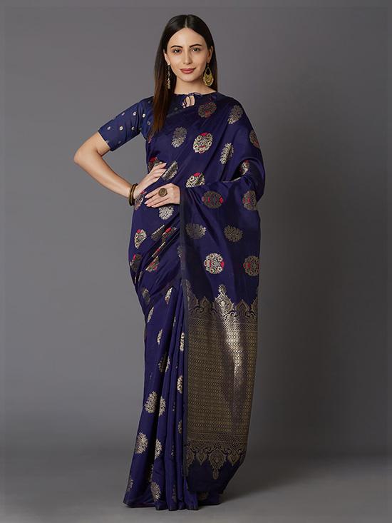 Navy Blue & Gold-Toned Silk Blend Woven Design Kanjeevaram Saree