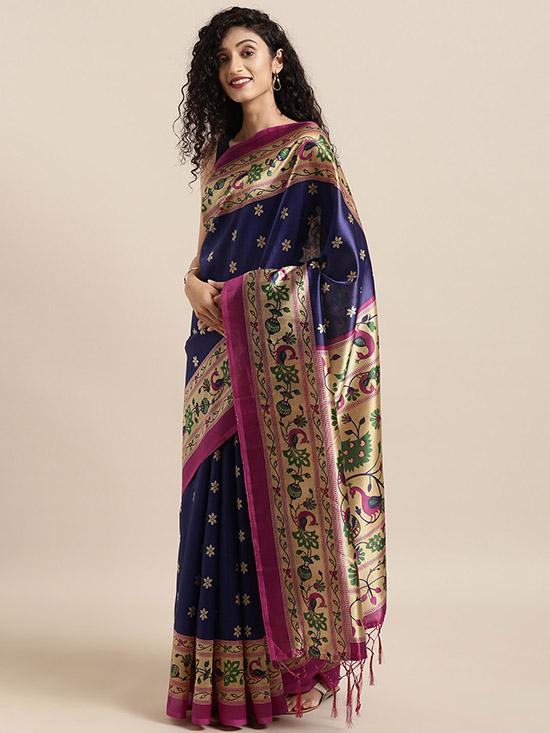 Navy Blue & Pink Art Silk Printed Mysore Silk Saree