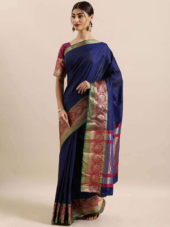 Navy Blue Solid Silk Blend Saree