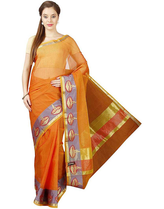 Orange Kota Doria Pure Cotton Saree
