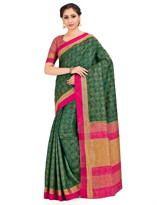 Paisley Banarasi Tussar Silk Green Saree