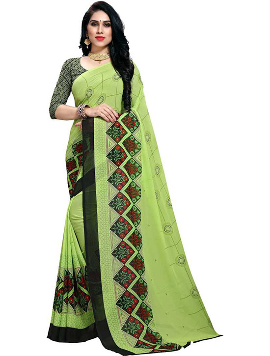Paisley, Floral Print Daily Wear Georgette Green Saree
