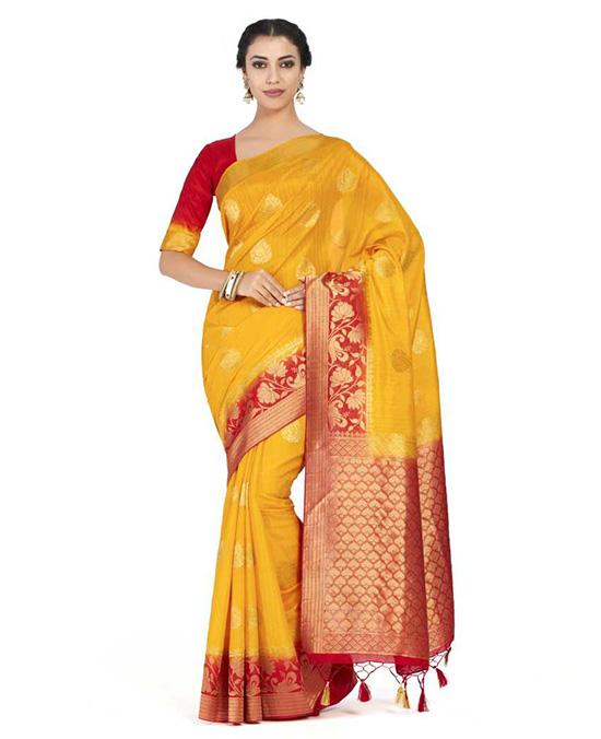 Paisley Kanjivaram Art Silk Yellow Saree