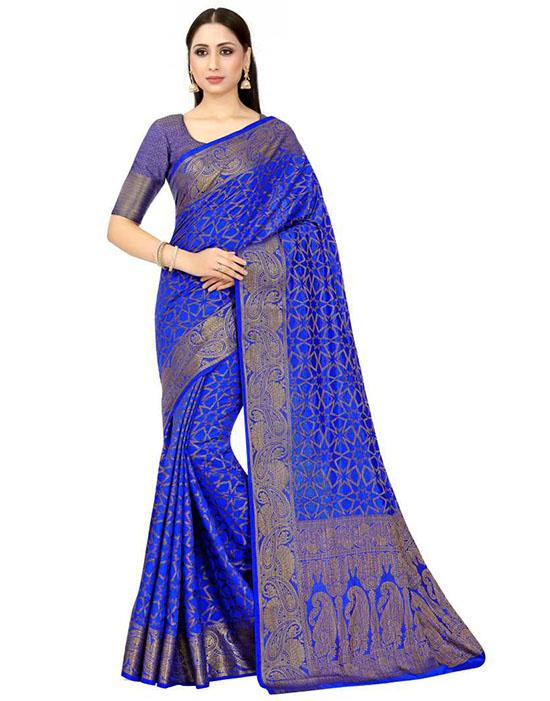 Paisley Patola Art Silk Blue Saree