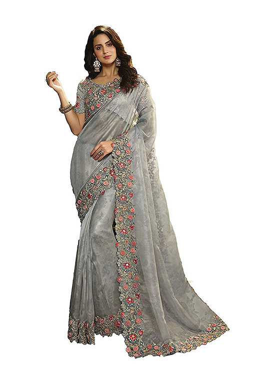 Party Wear Look Designer Silver Saree With Blouse