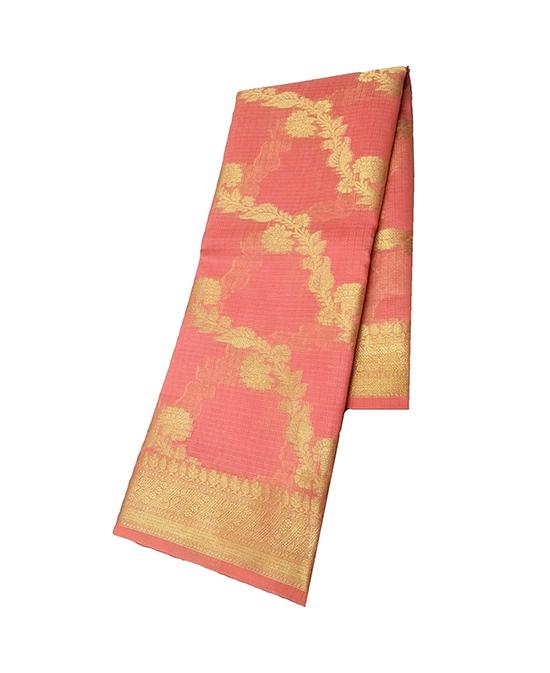 Peach Kora Muslin Saree for Women