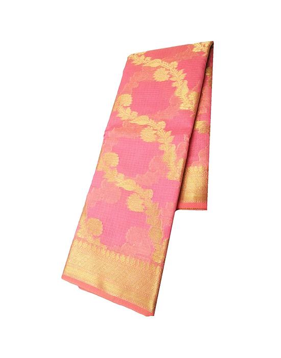 Pink Kora Muslin Saree for Women
