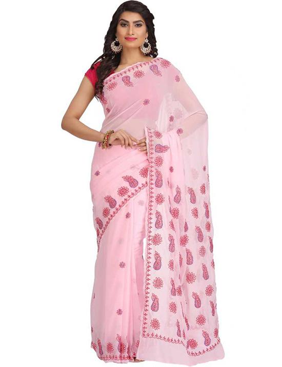 Pink Lucknow Chikankari Handloom Georgette Saree