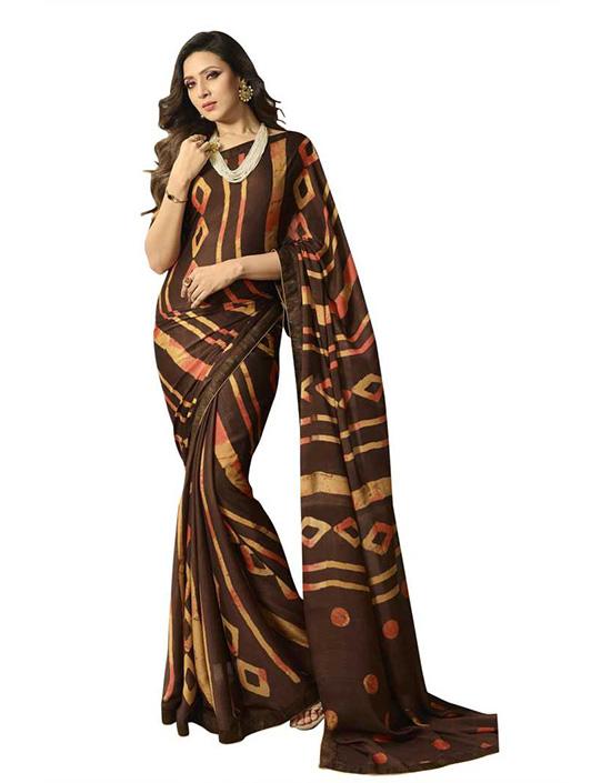Printed Banarasi Georgette Brown Saree