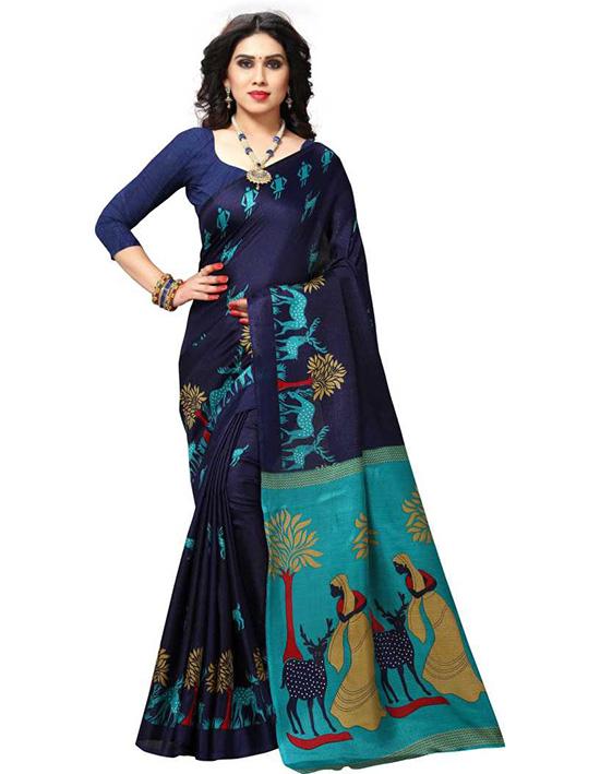 Printed Bhagalpuri Khadi Silk Blue Saree