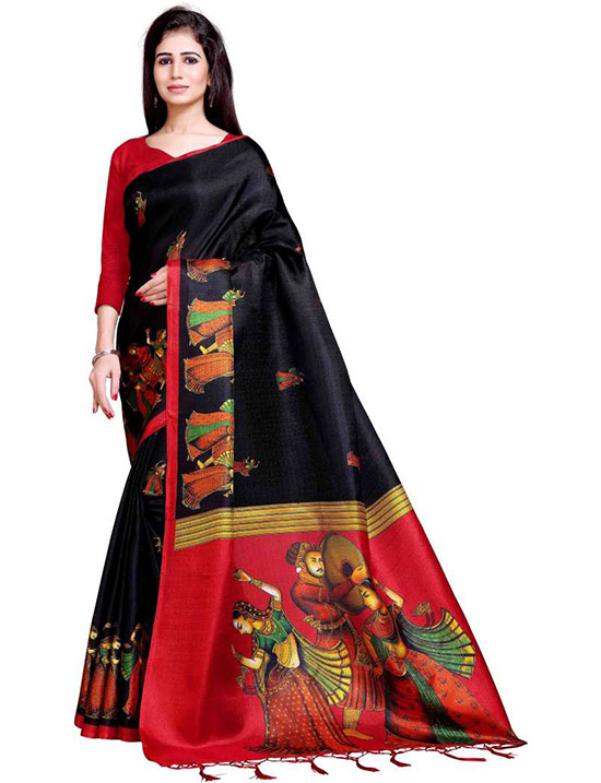 Printed Bollywood Art Silk Black Saree