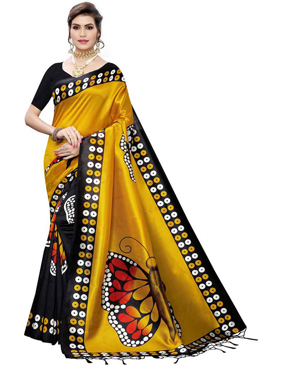 Printed Bollywood Art Silk Yellow Saree