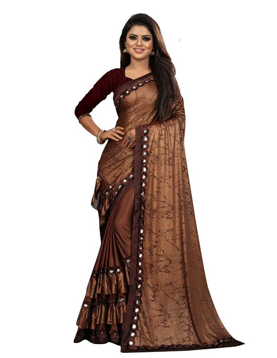 Printed Bollywood Lycra Blend Brown Saree