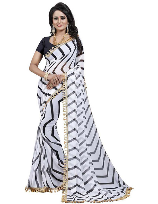 Printed Bollywood Poly Georgette White Saree