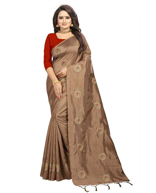 Printed Bollywood Tussar Silk, Silk Blend Brown Saree