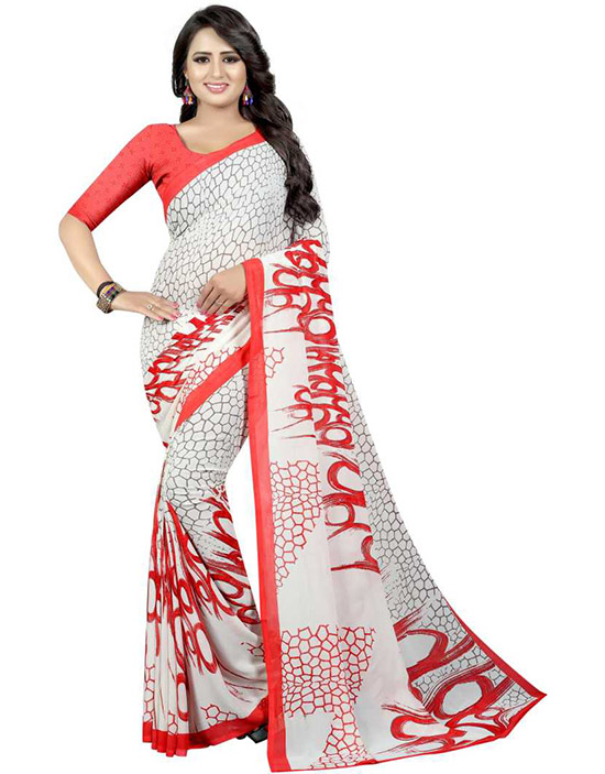 Printed Daily Wear Poly Georgette White Saree
