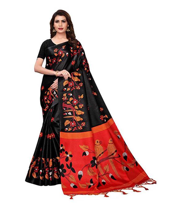 Printed Daily Wear Pure Cotton Black Saree