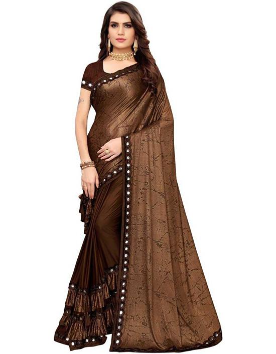 Printed, Embellished Bollywood Lycra Blend Brown Saree