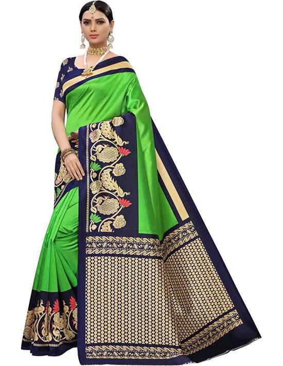 Printed Fashion Art Silk Green Saree