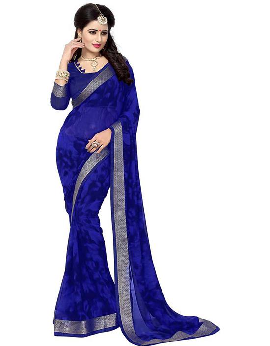 Printed Fashion Chiffon Blue Saree