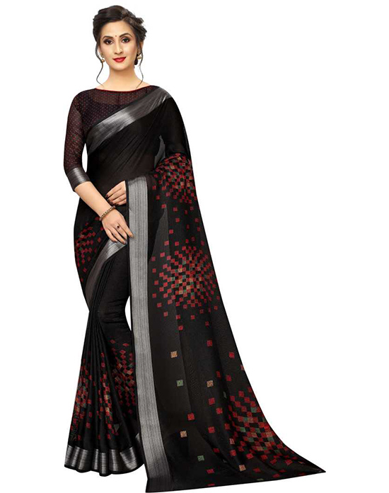Printed Fashion Cotton Jute Blend, Cotton Linen Blend Black Saree