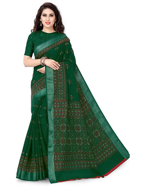 Printed Fashion Cotton Linen Blend Green Saree