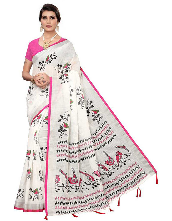 Printed Fashion Cotton Linen Blend White Saree