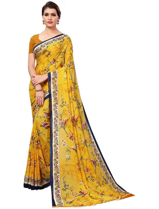 Printed Fashion Georgette Yellow Saree