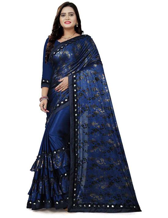 Printed Fashion Lycra Blend Blue Saree