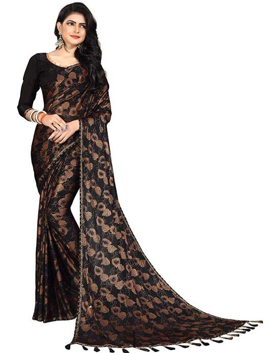 Printed Fashion Poly Silk Black Saree