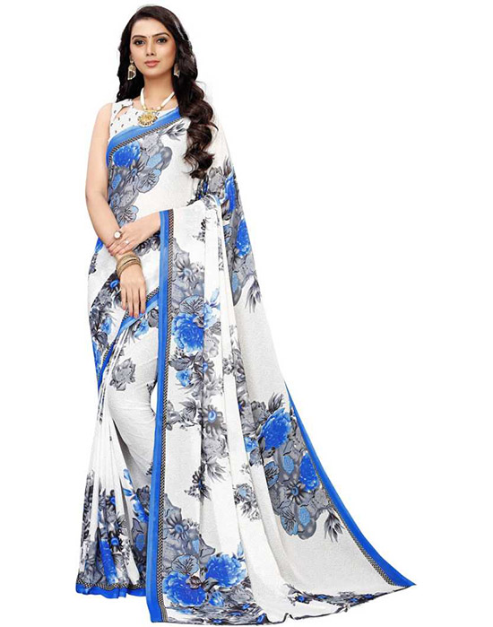 Printed, Floral Print Daily Wear Georgette, Chiffon White Saree