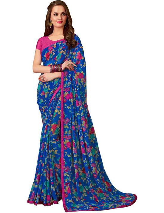 Printed, Floral Print Fashion Georgette, Chiffon Blue Saree