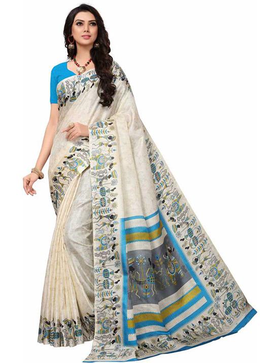 Printed Kalamkari Cotton Blend, Poly Silk White Saree