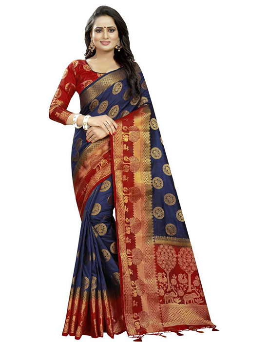 Printed Kanjivaram Art Silk Blue Saree