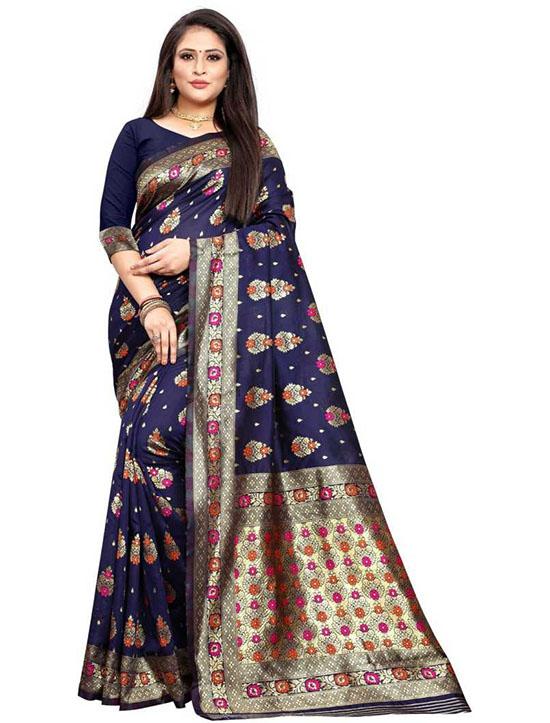 Printed Kanjivaram Poly Silk Blue Saree