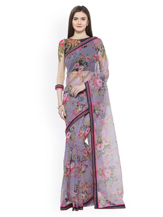 Printed Net Lavender & Pink Saree