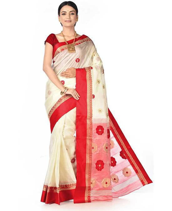 Printed, Woven Tangail Tussar Silk Saree Red, White