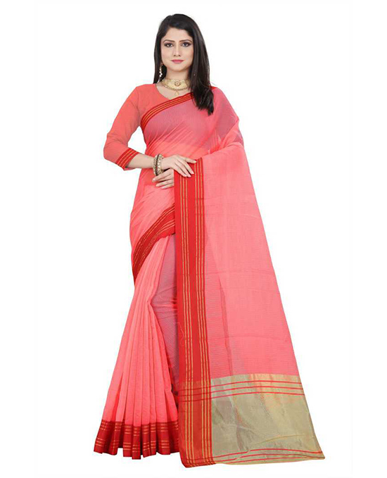 Red, Pink Kota Doria Silk Blend, Cotton Blend Saree