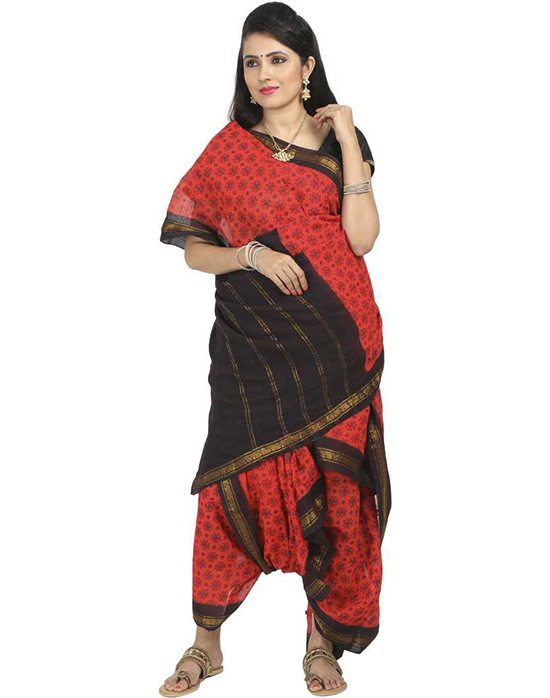 (Red) Sungudi Cotton Blend Saree